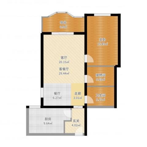 国际友谊花园1室2厅1卫1厨95.00㎡户型图