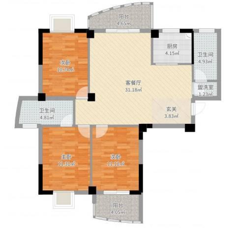 东城国际二期3室4厅2卫1厨123.00㎡户型图