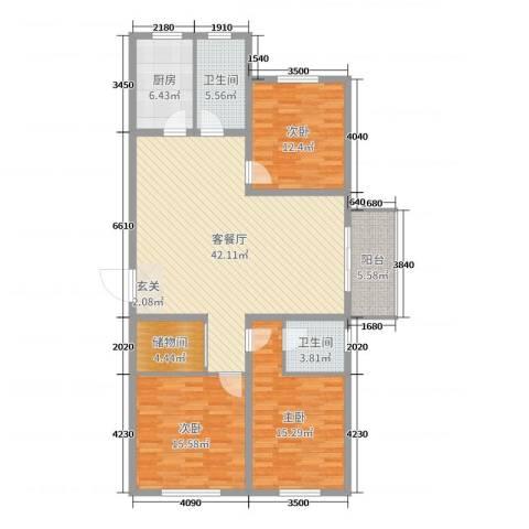 珑庭园中苑3室2厅2卫1厨136.00㎡户型图