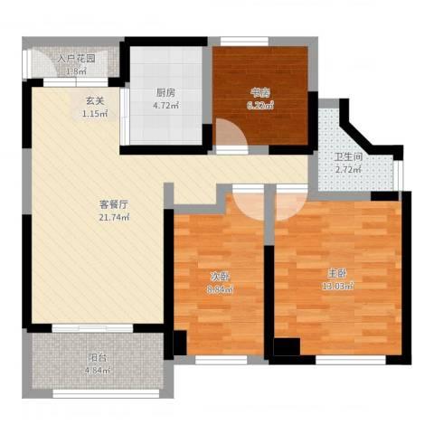 万科公园大道3室2厅1卫1厨80.00㎡户型图