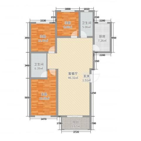 珑庭园中苑3室2厅2卫1厨135.00㎡户型图