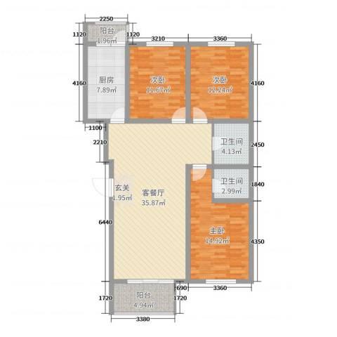 珑庭园中苑3室2厅2卫1厨120.00㎡户型图
