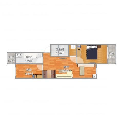 滨河西里北区1室1厅1卫1厨60.00㎡户型图