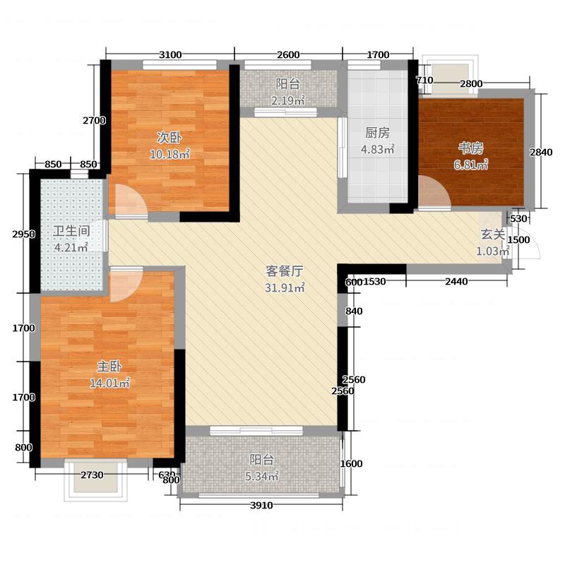 融科天域109.00㎡1、2、3号楼C2-1户型3室3厅1卫1厨