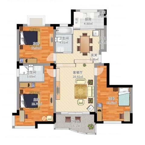 丰泽华庭3室2厅2卫1厨112.00㎡户型图