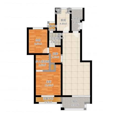 海上纳缇2室1厅3卫4厨96.00㎡户型图