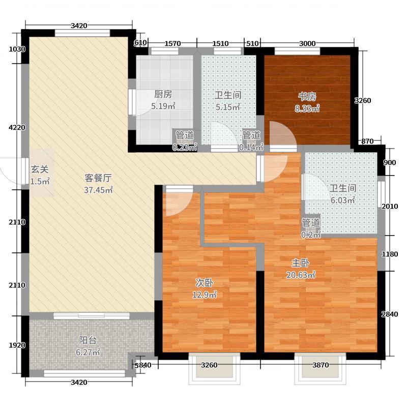 融汇城128.15㎡艾德公馆3#F户型3室3厅2卫1厨