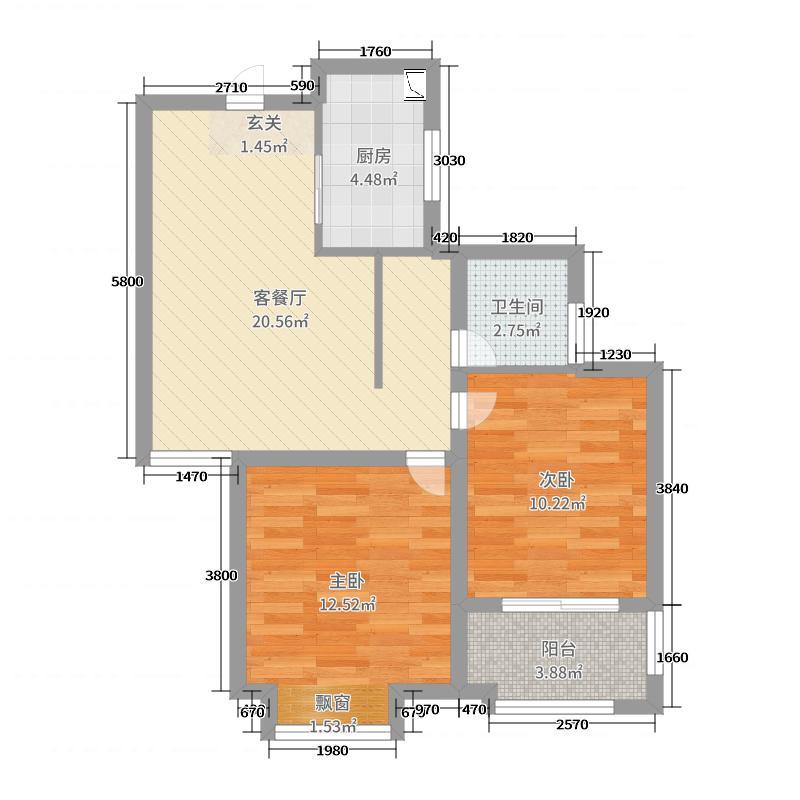 和平郡府68.00㎡4#楼两居户型2室2厅1卫1厨