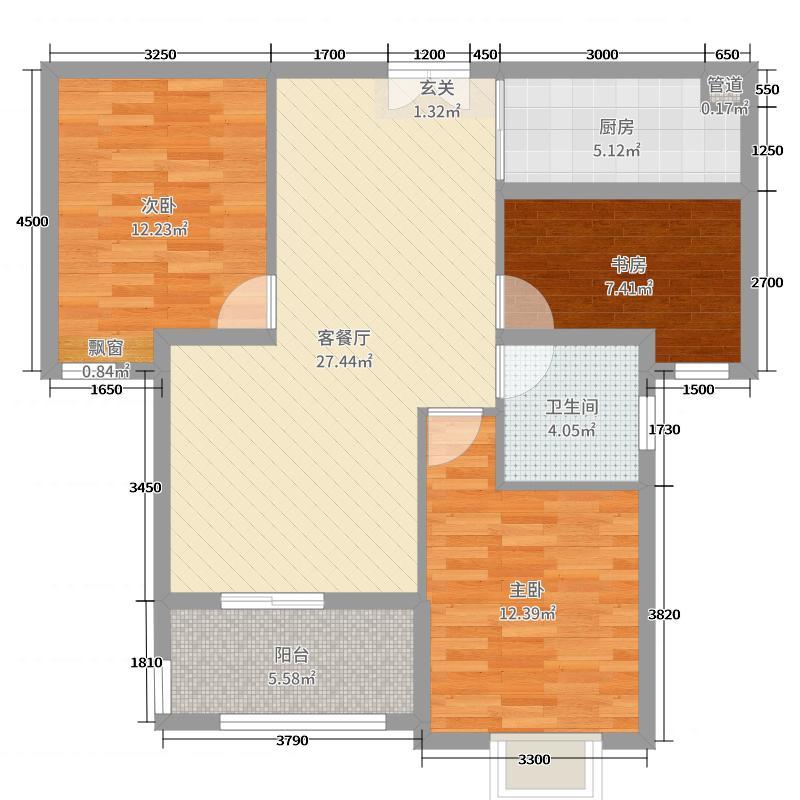裕福国际城91.99㎡A3户型2室2厅1卫1厨