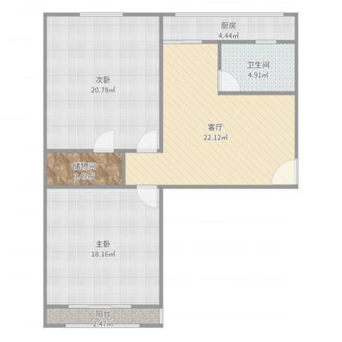 南华里2室1厅1卫1厨95.00㎡户型图