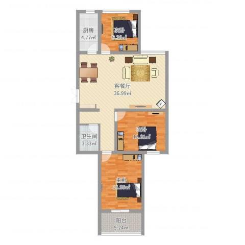 润鑫・公园壹号3室2厅1卫1厨109.00㎡户型图