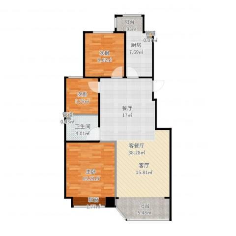 中远颐和丽园二期3室2厅1卫1厨100.00㎡户型图