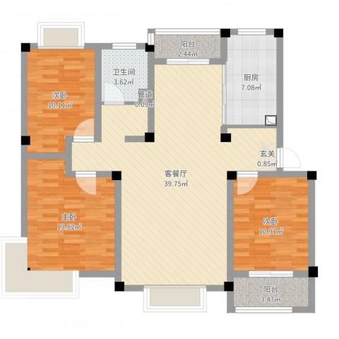 永兴花园3室2厅1卫1厨114.00㎡户型图