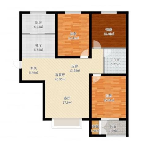 水岸丽景3室2厅1卫1厨132.00㎡户型图