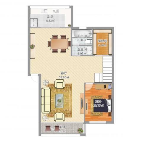 中河丽园1室1厅2卫1厨110.00㎡户型图