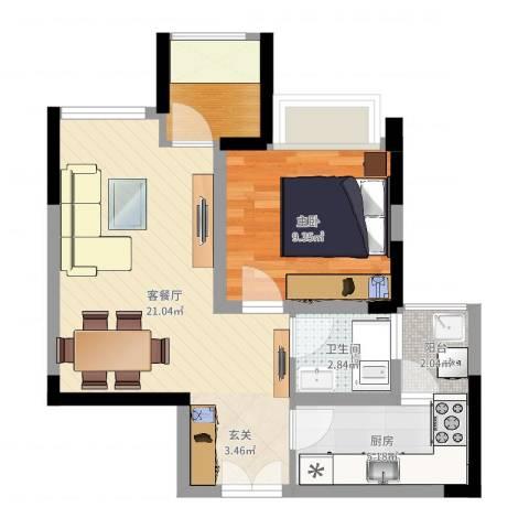 正升・时代港湾1室2厅1卫1厨55.00㎡户型图