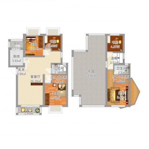 美洲花园E区2期5室2厅2卫1厨143.00㎡户型图