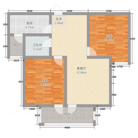 世茂锦江城2室2厅1卫1厨90.00㎡户型图