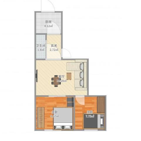 祥富里2室1厅1卫1厨55.00㎡户型图