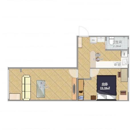 八角中里1室1厅1卫1厨56.00㎡户型图