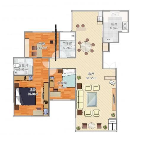 东方新城3室1厅2卫1厨150.00㎡户型图