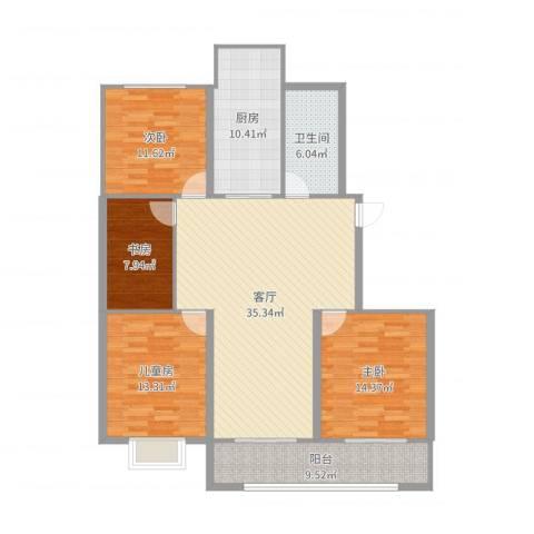 星富花园4室1厅1卫1厨136.00㎡户型图