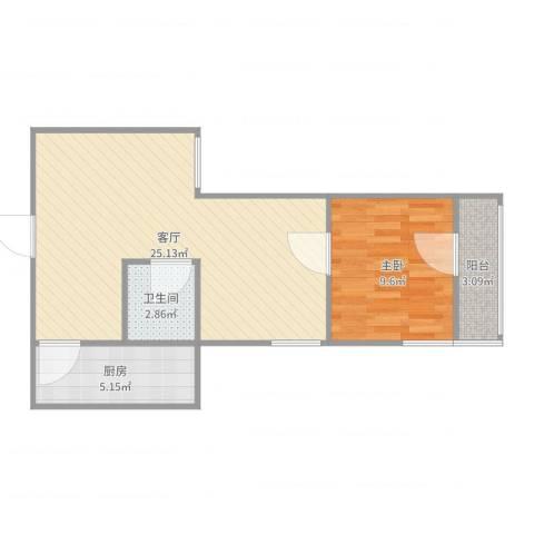牛街东里1室1厅1卫1厨57.00㎡户型图