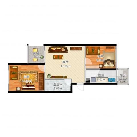 西平里2室1厅1卫1厨65.00㎡户型图
