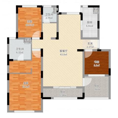 久事西郊花园3室2厅2卫1厨117.39㎡户型图