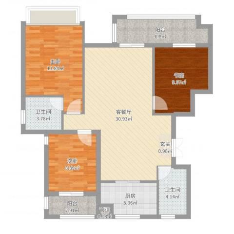 金色华府3室2厅2卫1厨108.00㎡户型图