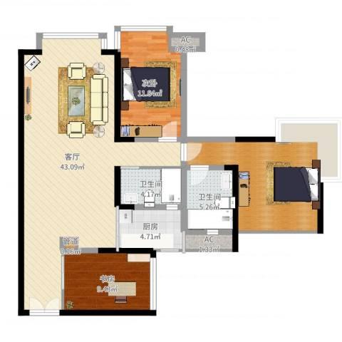 中海兰庭2室1厅2卫1厨120.00㎡户型图