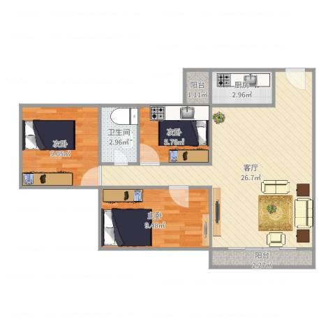 梅花豪庭3室1厅1卫1厨75.00㎡户型图