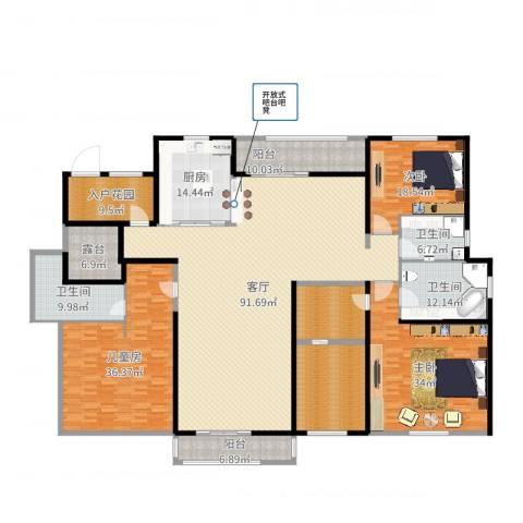 尼德兰官邸3室1厅4卫2厨352.00㎡户型图