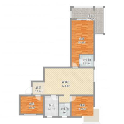 富友名族大厦3室2厅2卫1厨115.00㎡户型图
