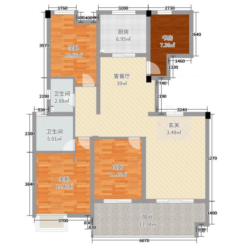金都・南德大院138.00㎡洋房B中间套户型4室4厅2卫1厨
