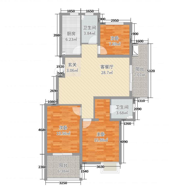 金都・南德大院116.00㎡洋房A边套户型3室3厅2卫1厨