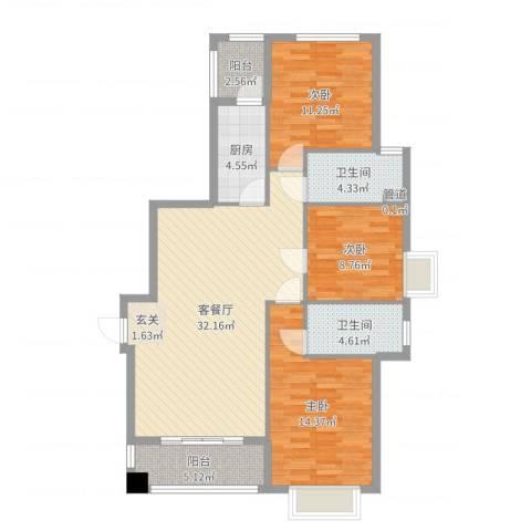 东方丽池3室2厅2卫1厨110.00㎡户型图