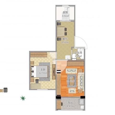 水清一村1室2厅1卫1厨56.00㎡户型图