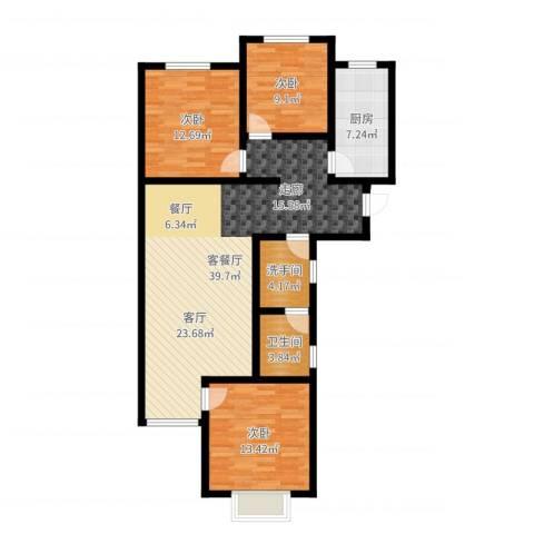 汇豪山水华府3室2厅1卫1厨113.00㎡户型图