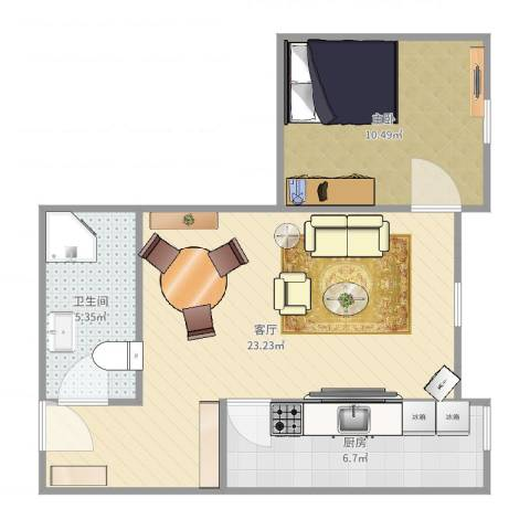 南海雅苑1502新1室1厅1卫1厨57.00㎡户型图