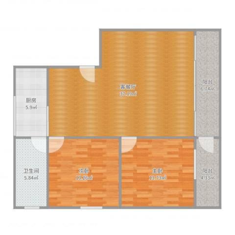 逸日雅居2室2厅1卫1厨109.00㎡户型图