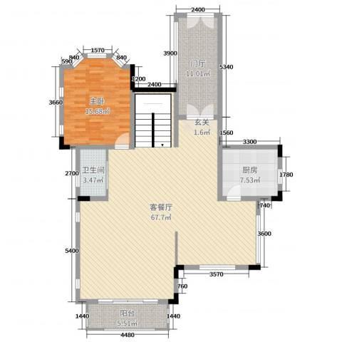 华侨花园1室2厅1卫1厨333.00㎡户型图