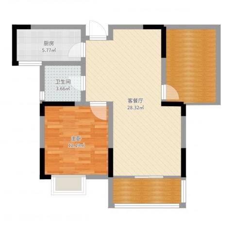 苹果园・幸福城1室2厅1卫1厨81.00㎡户型图