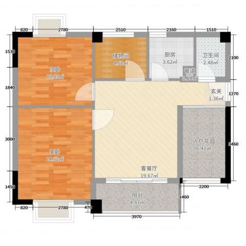 锦隆花园二期2室2厅1卫1厨80.00㎡户型图