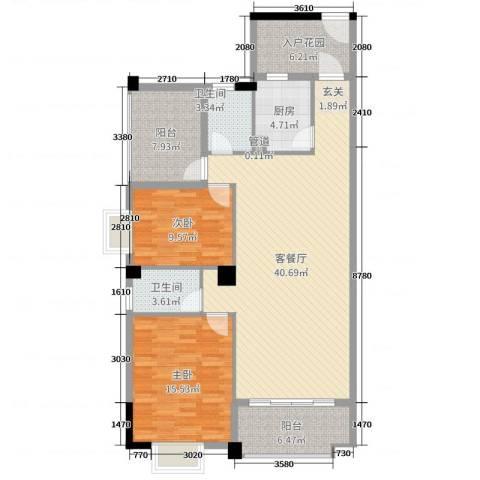 锦隆花园二期2室2厅2卫1厨114.00㎡户型图