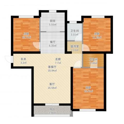 盛秦福地3室2厅2卫1厨89.49㎡户型图