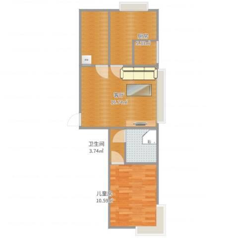 巴黎左岸1室1厅1卫1厨59.00㎡户型图