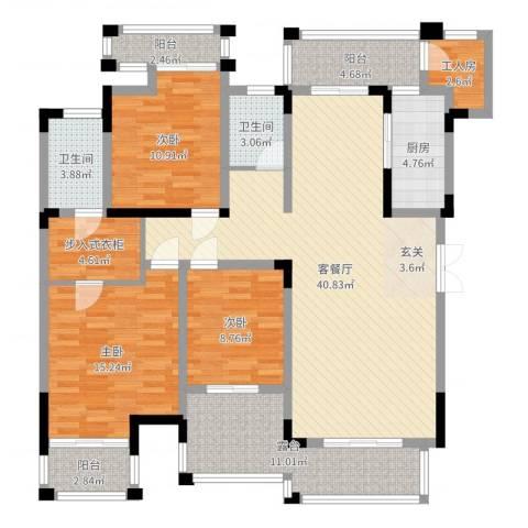 万硕・江城一品3室2厅2卫1厨145.00㎡户型图