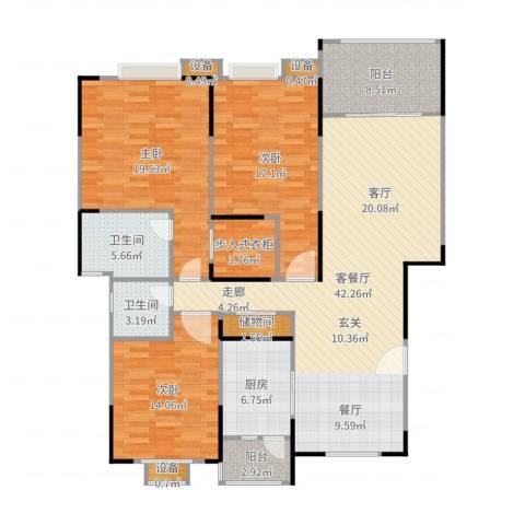 蓝湖西岸3室2厅2卫1厨159.00㎡户型图