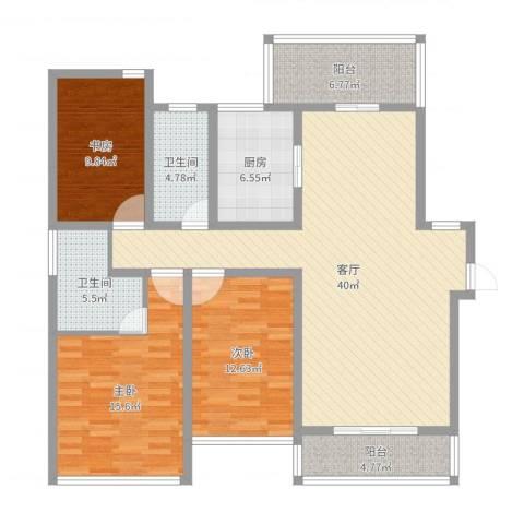 凯德汇豪天下3室1厅2卫1厨133.00㎡户型图